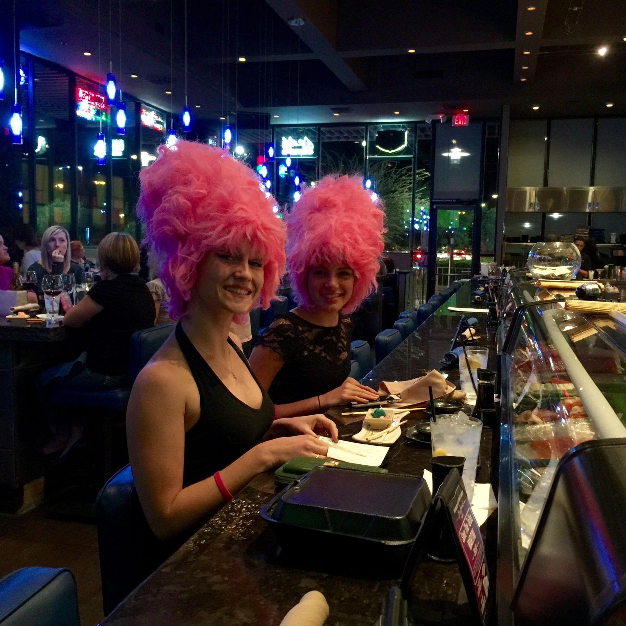 The Beehive Girls at the Sushi Bar at Blue Wasabi!